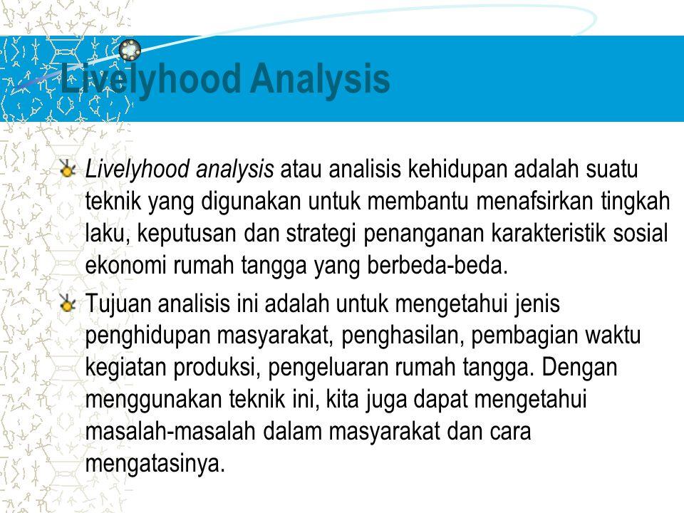 Livelyhood Analysis Livelyhood analysis atau analisis kehidupan adalah suatu teknik yang digunakan untuk membantu menafsirkan tingkah laku, keputusan dan strategi penanganan karakteristik sosial ekonomi rumah tangga yang berbeda-beda.