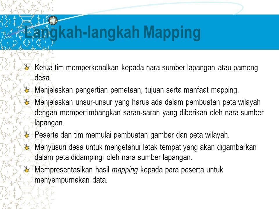 Langkah-langkah Mapping Ketua tim memperkenalkan kepada nara sumber lapangan atau pamong desa. Menjelaskan pengertian pemetaan, tujuan serta manfaat m