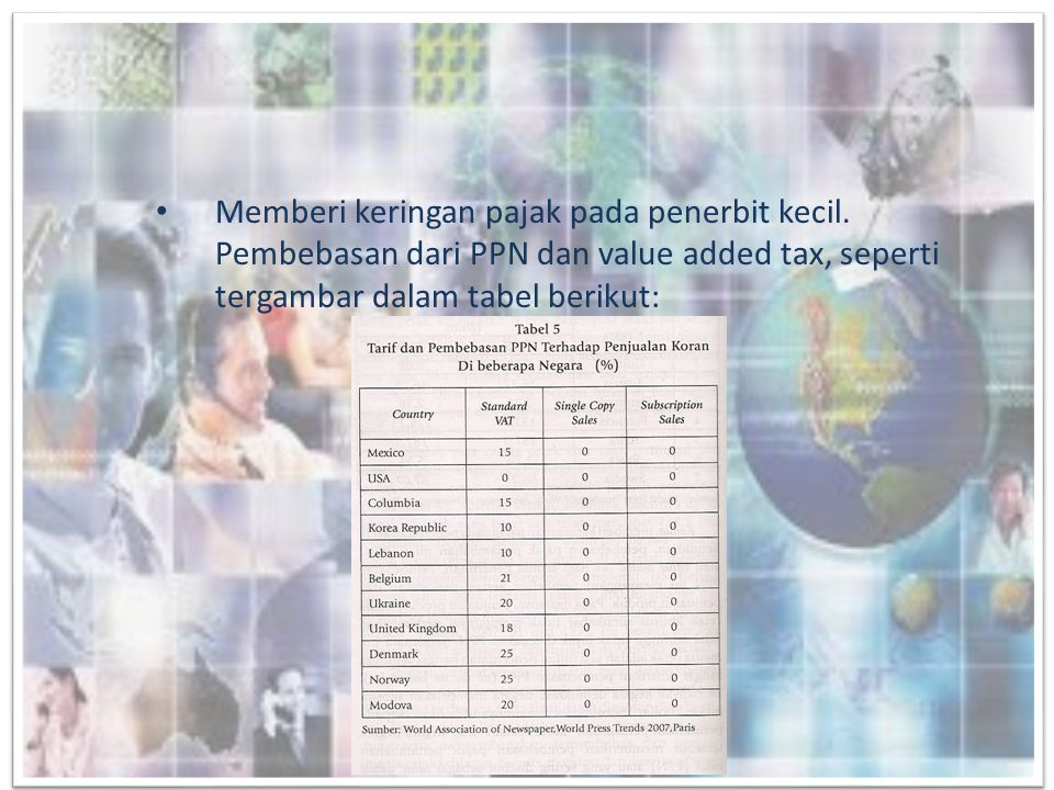 • Memberi keringan pajak pada penerbit kecil. Pembebasan dari PPN dan value added tax, seperti tergambar dalam tabel berikut: