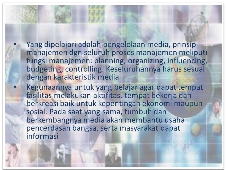 Perkembangan dan Peta Media di Indonesia • Regulasi Media dalam sistem demokrasi: – Tidak menggunakan ranah publik • Misal buku, majalah, suratkabar, film asal tidak disiarkan lewat tv • Prinsipnya self regulatory, oleh: – Dewan Pers – Serikat Penerbit Suratkabar (SPS) – Persatuan Wartawan Indonesia (PWI) – Aliansi Jurnalis independen (AJI) – Ikatan Jurnalis Televisi Indonesia (IJTI) – Undang2 Pers No.