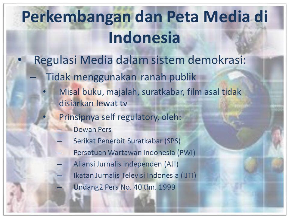 – Menggunakan public domain • Menggunakan frekuensi dalam kurun waktu tertentu • Peraturan perundang2an di bidang penyiaran • Di Indonesia, yang berhubungan dengan isi: Komisi Penyiaran Indonesia (KPI), Depkominfo penggunaan frekuensi dan pemberian ijin penyiaran • Media ini ada dimana2 karena itu regulasi harus ketat