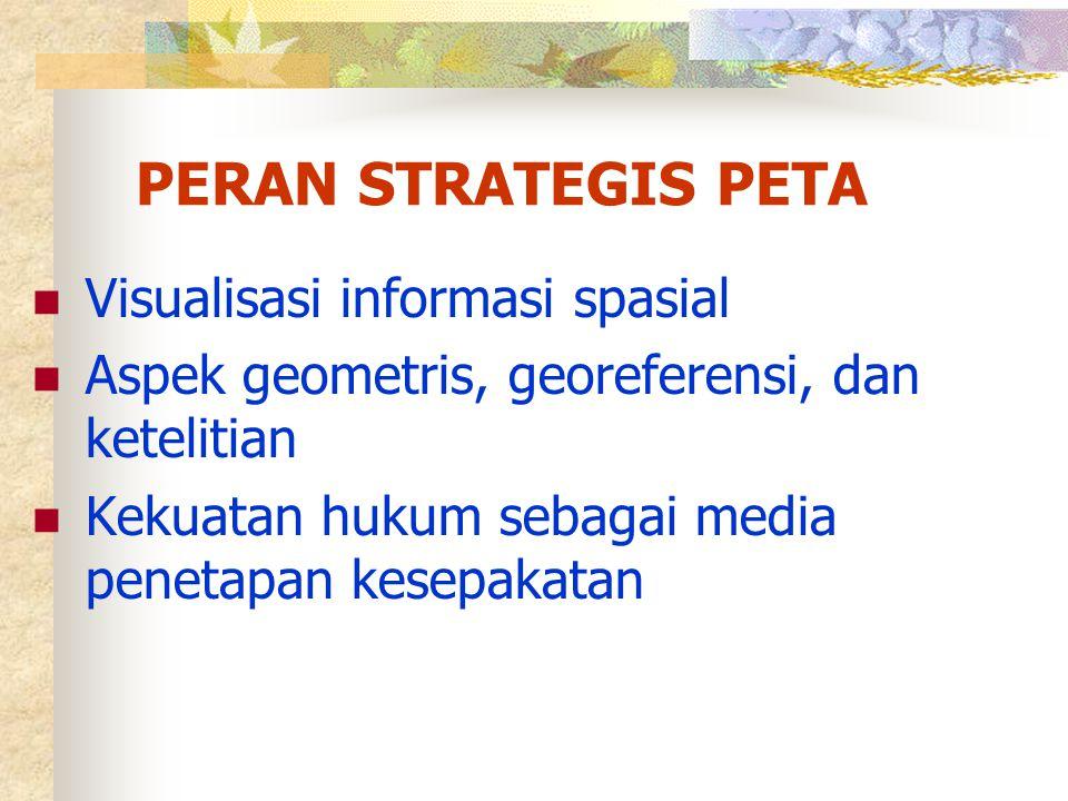 PERAN STRATEGIS PETA  Visualisasi informasi spasial  Aspek geometris, georeferensi, dan ketelitian  Kekuatan hukum sebagai media penetapan kesepaka