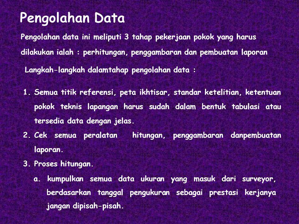 Pengolahan Data Pengolahan data ini meliputi 3 tahap pekerjaan pokok yang harus dilakukan ialah : perhitungan, penggambaran dan pembuatan laporan 1.Se