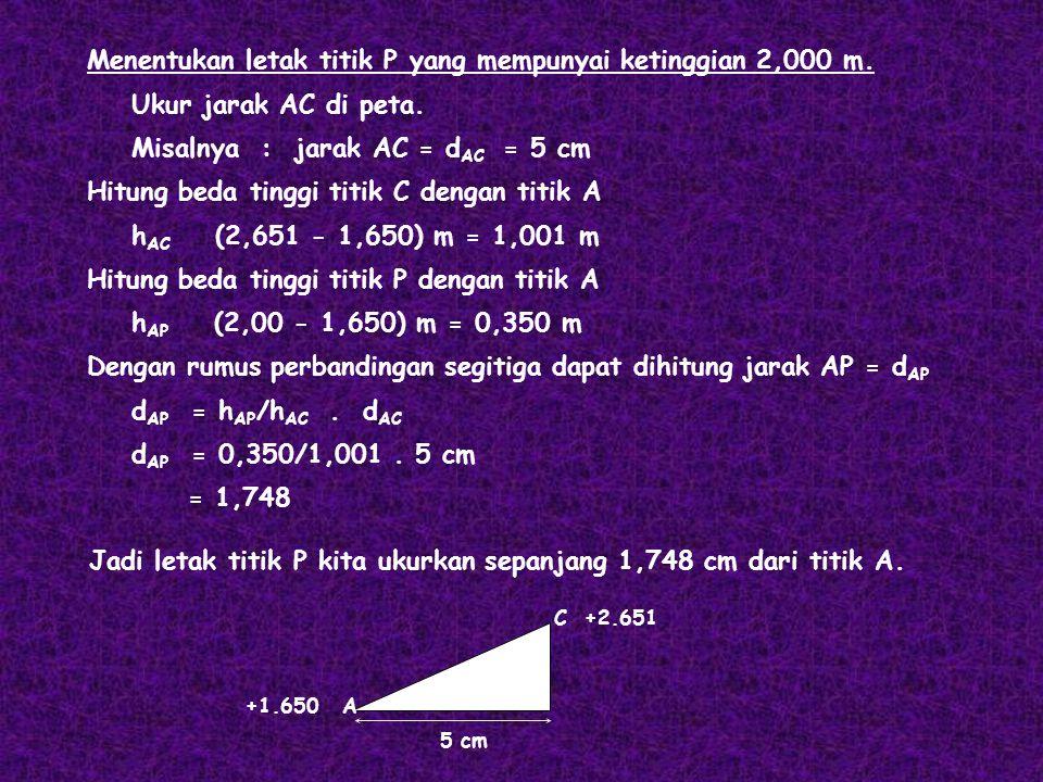 Menentukan letak titik P yang mempunyai ketinggian 2,000 m. Ukur jarak AC di peta. Misalnya : jarak AC = d AC = 5 cm Hitung beda tinggi titik C dengan
