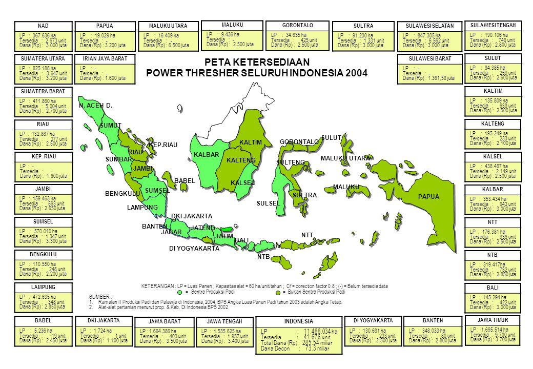 PETA KETERSEDIAAN POWER THRESHER SELURUH INDONESIA 2004 NAD LP : 367.636 ha Tersedia : 2.673 unit Dana (Rp) : 3.000 juta SUMATERA UTARA LP : 825.188 h