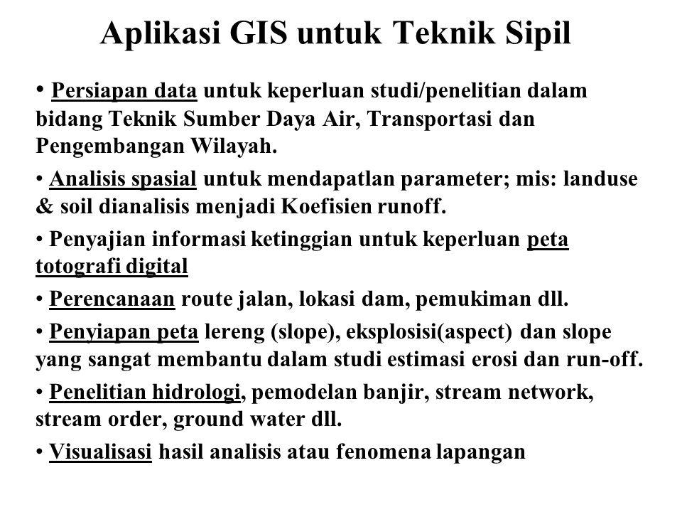 Aplikasi GIS untuk Teknik Sipil • Persiapan data untuk keperluan studi/penelitian dalam bidang Teknik Sumber Daya Air, Transportasi dan Pengembangan W