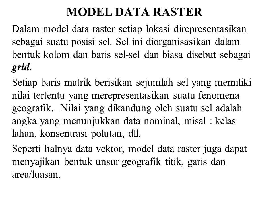 MODEL DATA RASTER Dalam model data raster setiap lokasi direpresentasikan sebagai suatu posisi sel. Sel ini diorganisasikan dalam bentuk kolom dan bar