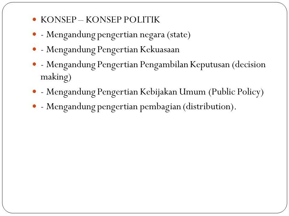  KONSEP – KONSEP POLITIK  - Mengandung pengertian negara (state)  - Mengandung Pengertian Kekuasaan  - Mengandung Pengertian Pengambilan Keputusan