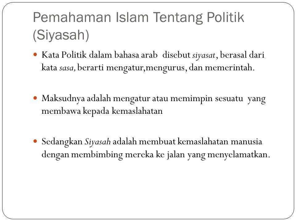 Pemahaman Islam Tentang Politik (Siyasah)  Kata Politik dalam bahasa arab disebut siyasat, berasal dari kata sasa, berarti mengatur,mengurus, dan mem