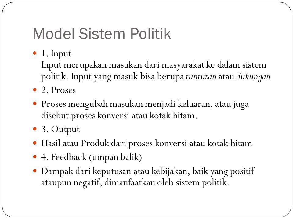Model Sistem Politik  1. Input Input merupakan masukan dari masyarakat ke dalam sistem politik. Input yang masuk bisa berupa tuntutan atau dukungan 