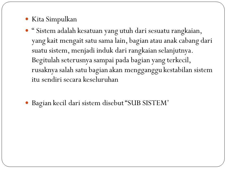 """ Kita Simpulkan  """" Sistem adalah kesatuan yang utuh dari sesuatu rangkaian, yang kait mengait satu sama lain, bagian atau anak cabang dari suatu sis"""