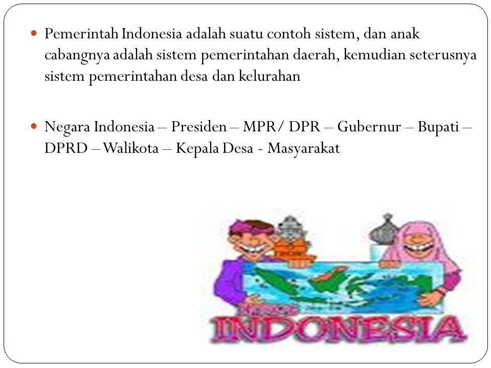  Pemerintah Indonesia adalah suatu contoh sistem, dan anak cabangnya adalah sistem pemerintahan daerah, kemudian seterusnya sistem pemerintahan desa