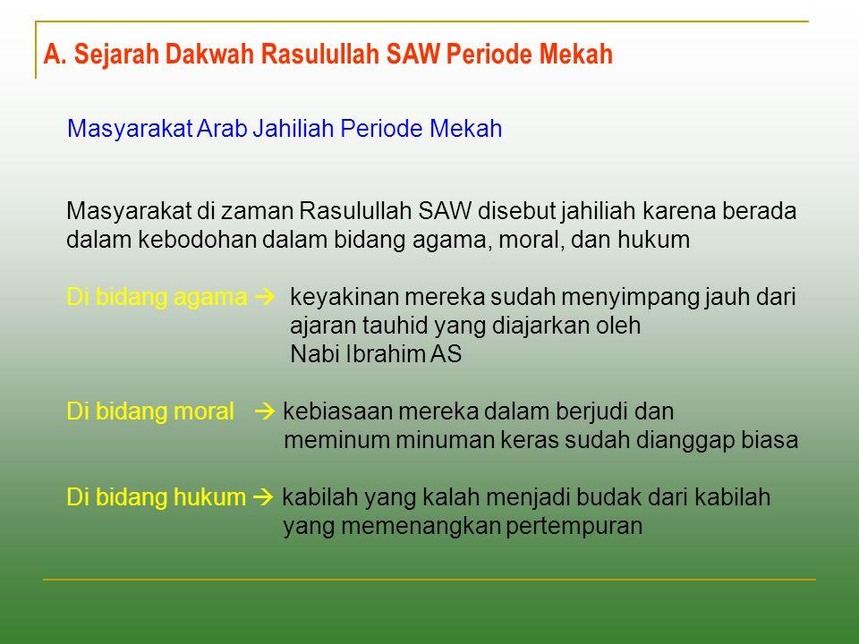A. Sejarah Dakwah Rasulullah SAW Periode Mekah Masyarakat Arab Jahiliah Periode Mekah Masyarakat di zaman Rasulullah SAW disebut jahiliah karena berad