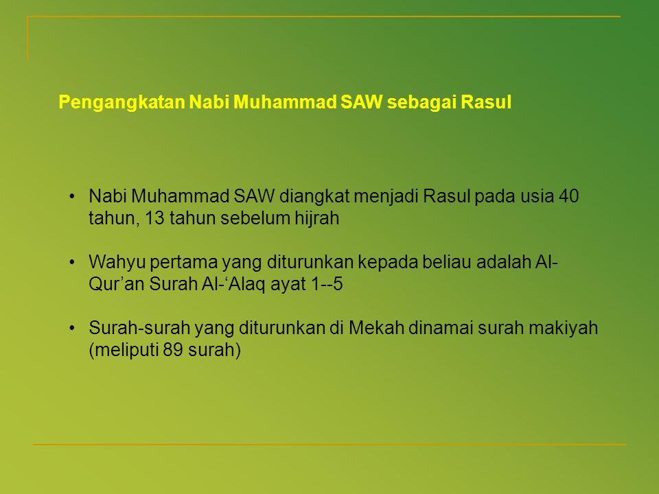 Pengangkatan Nabi Muhammad SAW sebagai Rasul •Nabi Muhammad SAW diangkat menjadi Rasul pada usia 40 tahun, 13 tahun sebelum hijrah •Wahyu pertama yang