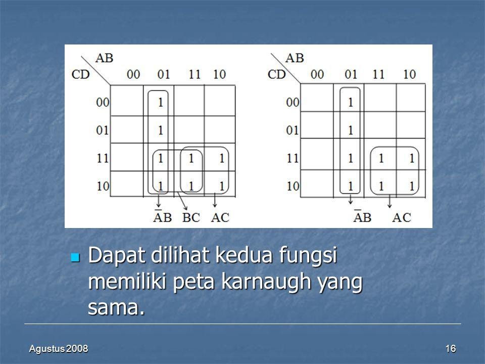 Agustus 200816  Dapat dilihat kedua fungsi memiliki peta karnaugh yang sama.