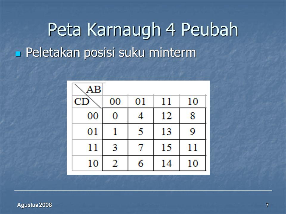 Agustus 20087 Peta Karnaugh 4 Peubah  Peletakan posisi suku minterm