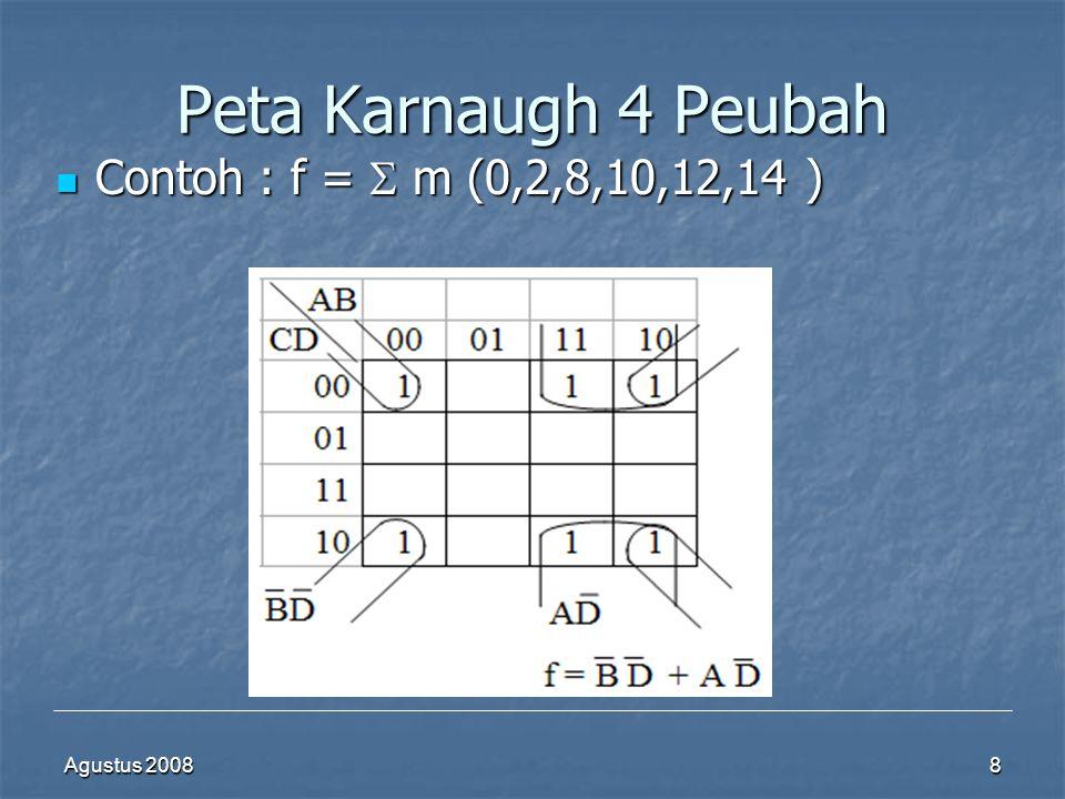 Agustus 20088 Peta Karnaugh 4 Peubah  Contoh : f =  m (0,2,8,10,12,14 )