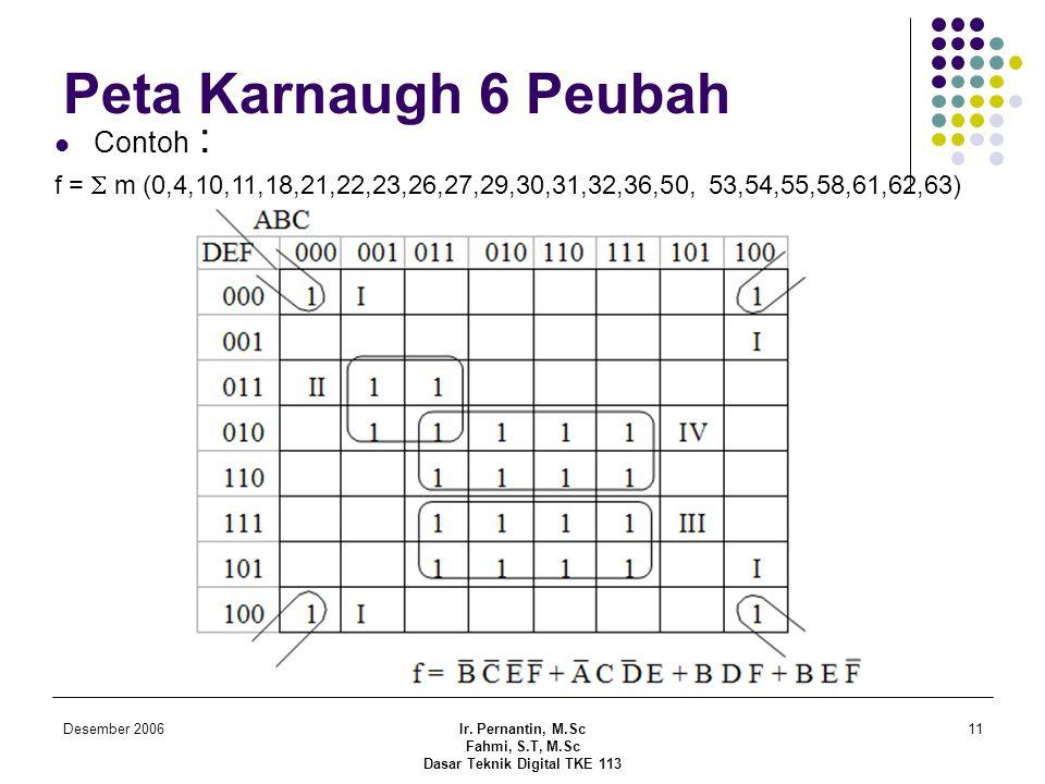Desember 2006Ir. Pernantin, M.Sc Fahmi, S.T, M.Sc Dasar Teknik Digital TKE 113 11 Peta Karnaugh 6 Peubah  Contoh : f =  m (0,4,10,11,18,21,22,23,26,