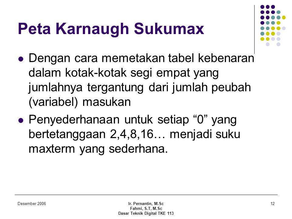 Desember 2006Ir. Pernantin, M.Sc Fahmi, S.T, M.Sc Dasar Teknik Digital TKE 113 12 Peta Karnaugh Sukumax  Dengan cara memetakan tabel kebenaran dalam