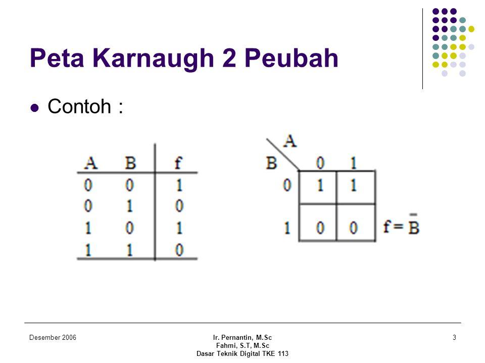 Desember 2006Ir. Pernantin, M.Sc Fahmi, S.T, M.Sc Dasar Teknik Digital TKE 113 3 Peta Karnaugh 2 Peubah  Contoh :