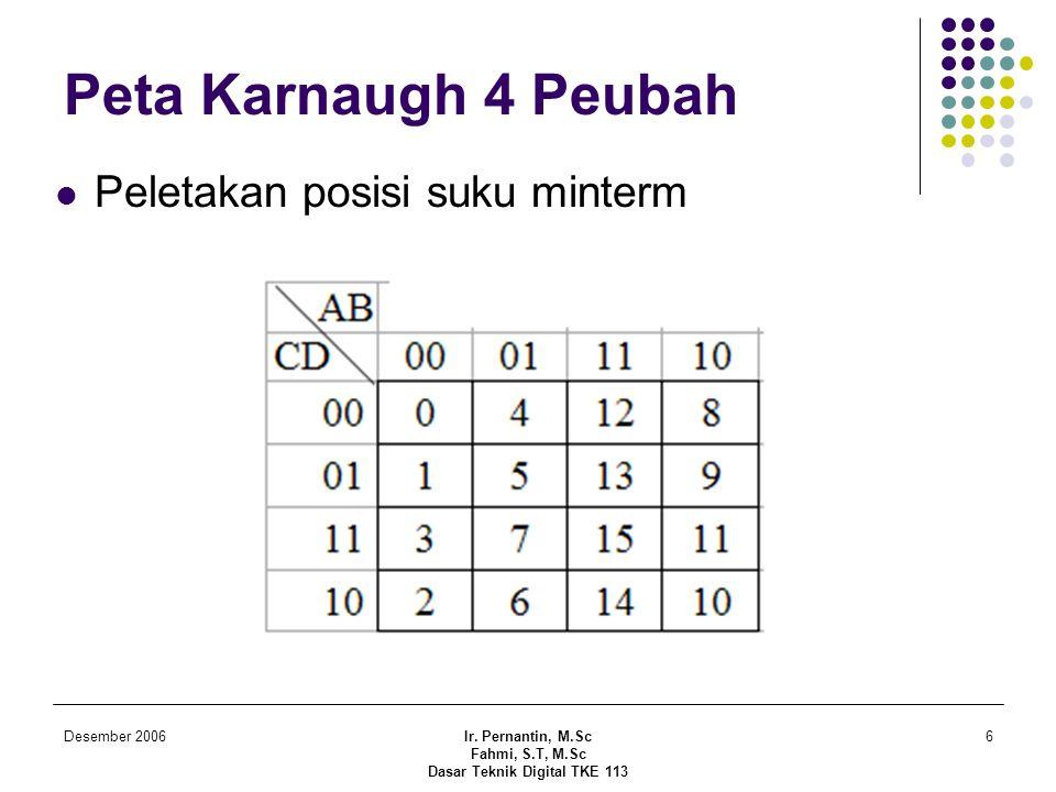 Desember 2006Ir. Pernantin, M.Sc Fahmi, S.T, M.Sc Dasar Teknik Digital TKE 113 6 Peta Karnaugh 4 Peubah  Peletakan posisi suku minterm