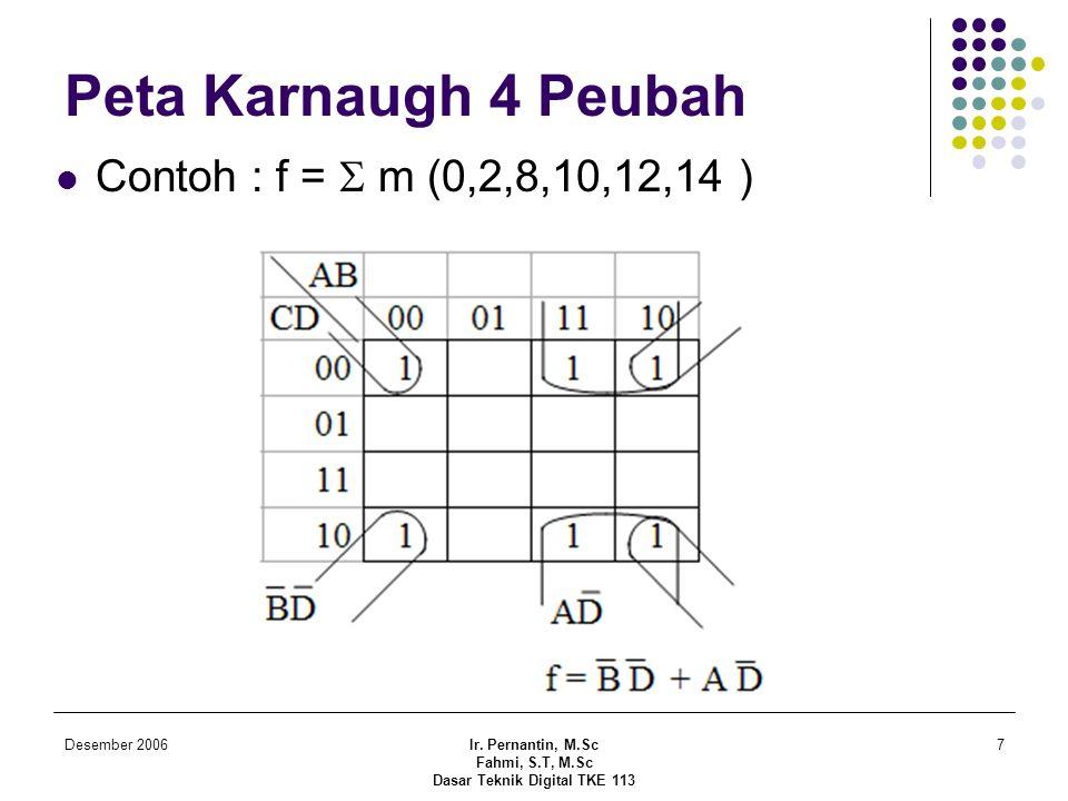 Desember 2006Ir. Pernantin, M.Sc Fahmi, S.T, M.Sc Dasar Teknik Digital TKE 113 7 Peta Karnaugh 4 Peubah  Contoh : f =  m (0,2,8,10,12,14 )
