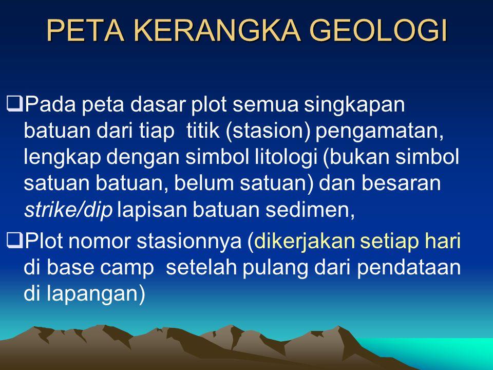 DATA LAPANGAN •Tiap stasiun pengamatan :  Data singkapan batuan  deskripsi lengkap, data / strike dip lapisan batuan,  Sampel batuannya, foto, sket