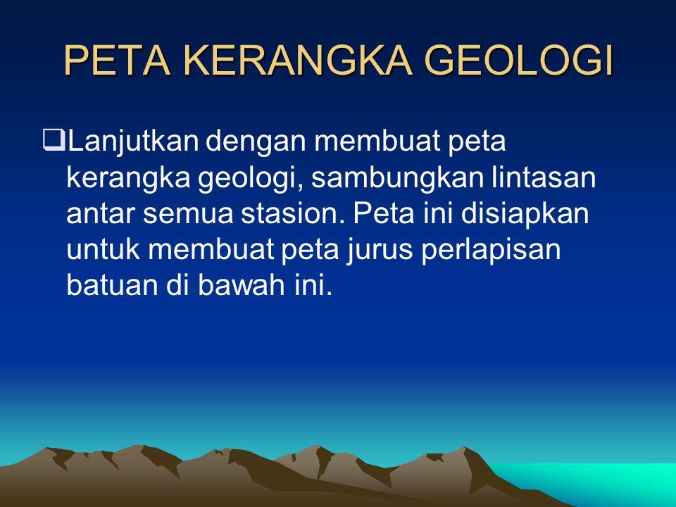 PETA KERANGKA GEOLOGI  Plot semua singkapan elemen struktur geologi (singkapan sesar) lengkap dengan deskripsinya yang ditulis pada keterangan (legen
