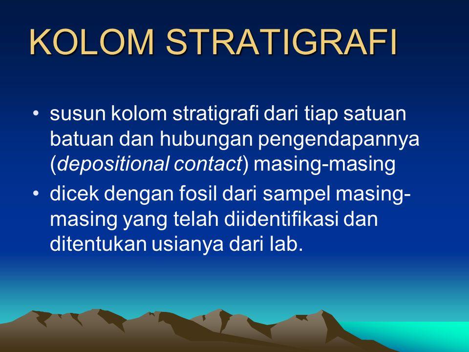 KOLOM STRATIGRAFI Dari hasil semua pengamatan lapangan disusun stratigrafi daerah pemetaan : •mengelompokkan semua singkapan batuan sejenis dan seposi