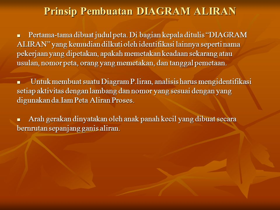 """Prinsip Pembuatan DIAGRAM ALIRAN  Pertama-tama dibuat judul peta. Di bagian kepala ditulis """"DIAGRAM ALIRAN"""" yang kemudian dilkuti oleh identifikasi l"""