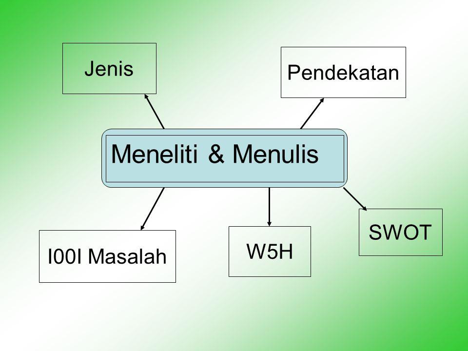 Meneliti & Menulis Jenis I00I Masalah Pendekatan SWOT W5H