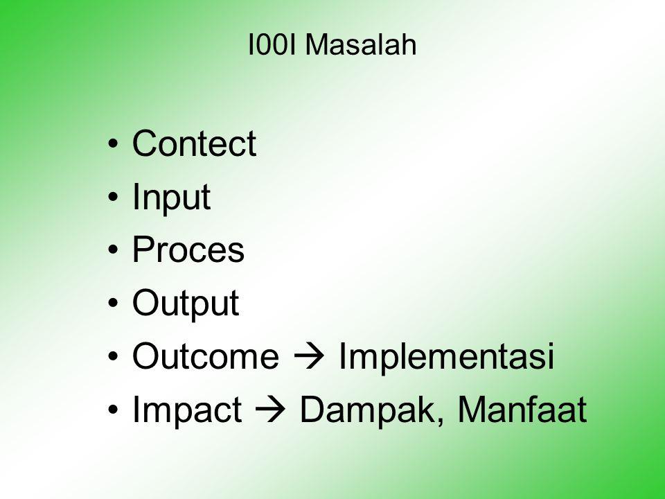 I00I Masalah •Contect •Input •Proces •Output •Outcome  Implementasi •Impact  Dampak, Manfaat