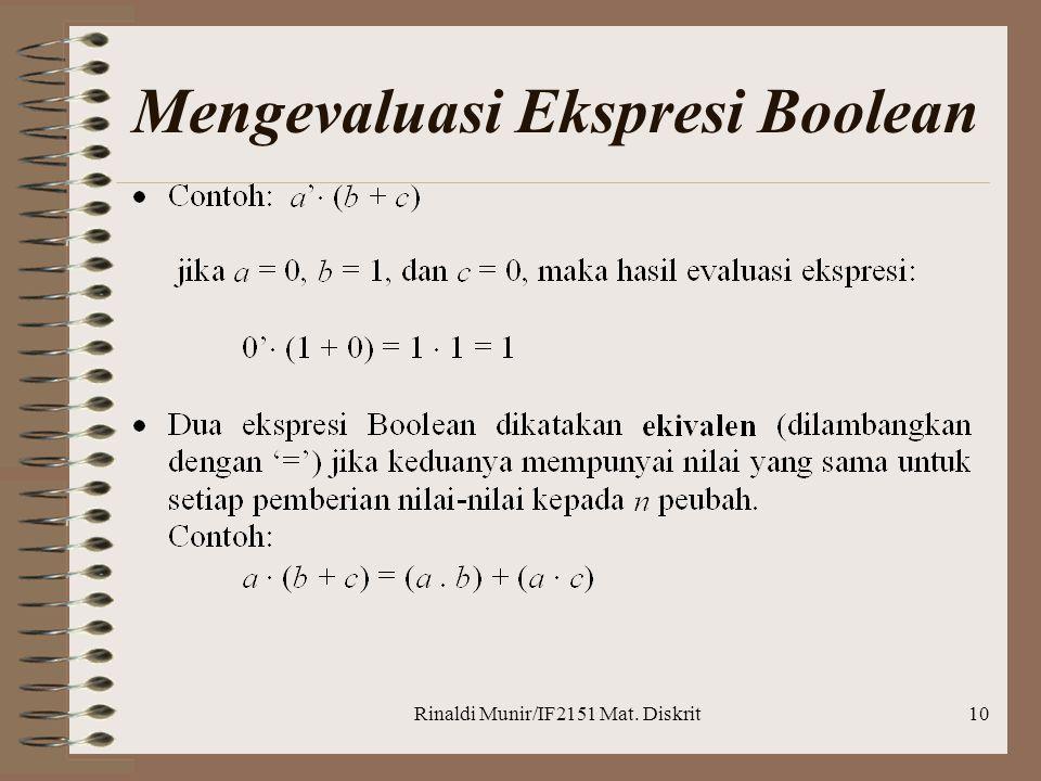 Rinaldi Munir/IF2151 Mat. Diskrit10 Mengevaluasi Ekspresi Boolean