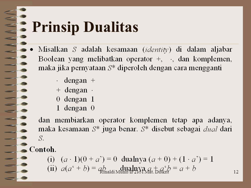 Rinaldi Munir/IF2151 Mat. Diskrit12 Prinsip Dualitas