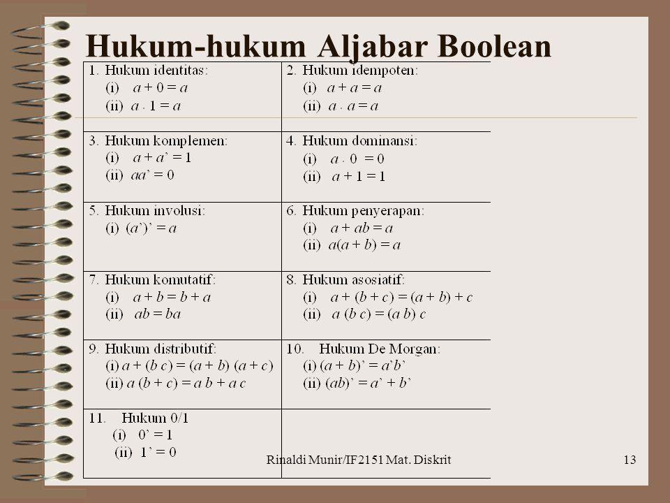 Rinaldi Munir/IF2151 Mat. Diskrit13 Hukum-hukum Aljabar Boolean