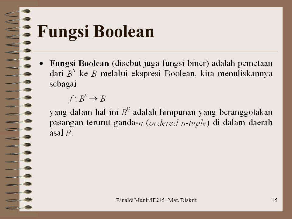 Rinaldi Munir/IF2151 Mat. Diskrit15 Fungsi Boolean