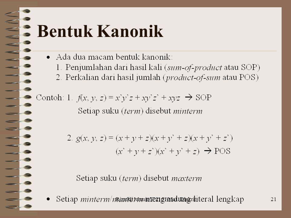 Rinaldi Munir/IF2151 Mat. Diskrit21 Bentuk Kanonik