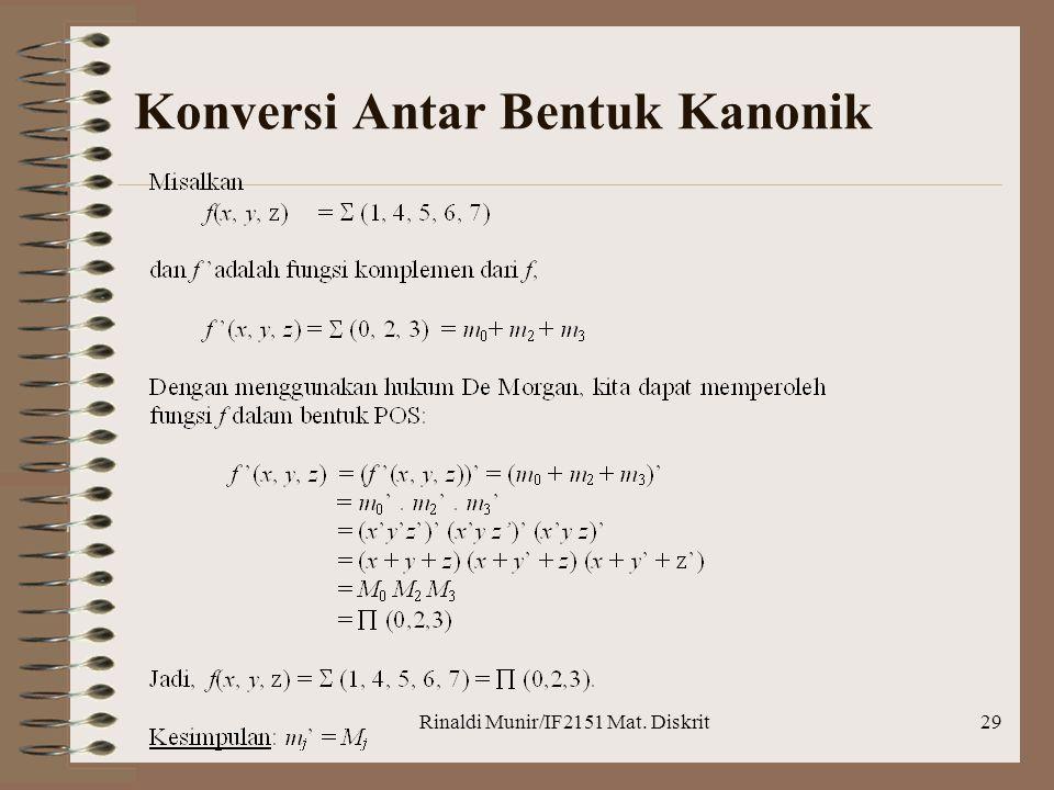 Rinaldi Munir/IF2151 Mat. Diskrit29 Konversi Antar Bentuk Kanonik