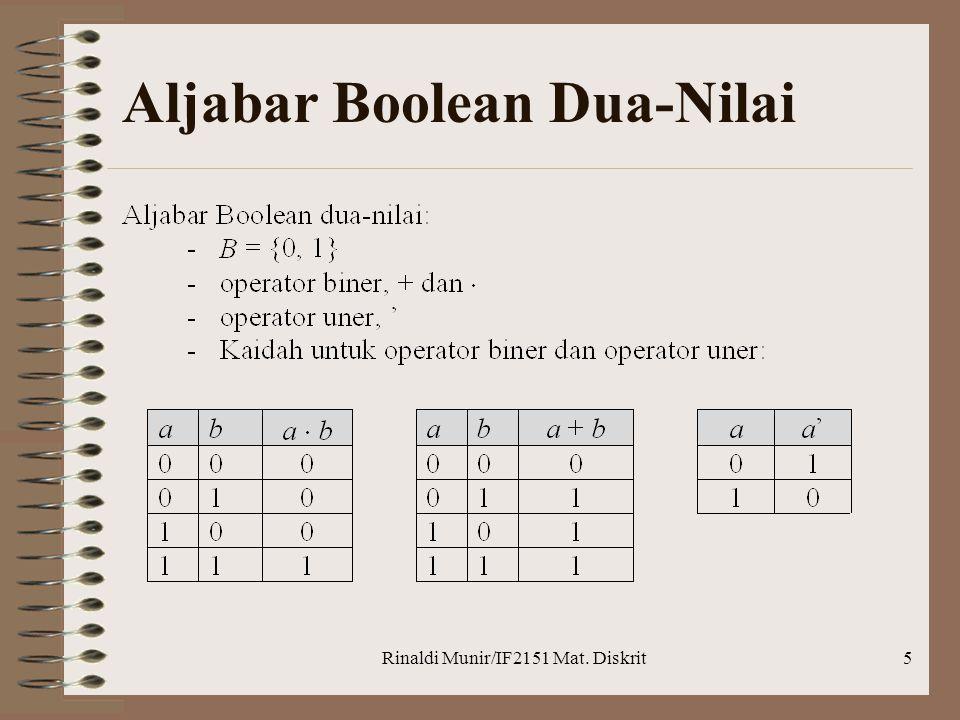 Rinaldi Munir/IF2151 Mat. Diskrit5 Aljabar Boolean Dua-Nilai