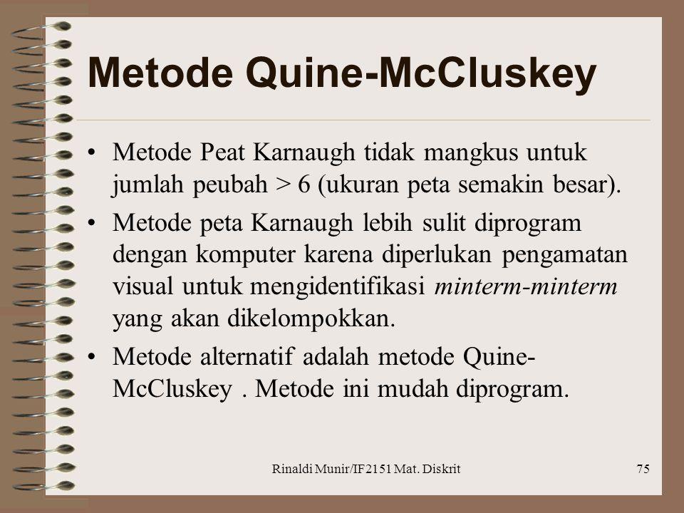 Rinaldi Munir/IF2151 Mat. Diskrit75 Metode Quine-McCluskey •Metode Peat Karnaugh tidak mangkus untuk jumlah peubah > 6 (ukuran peta semakin besar). •M