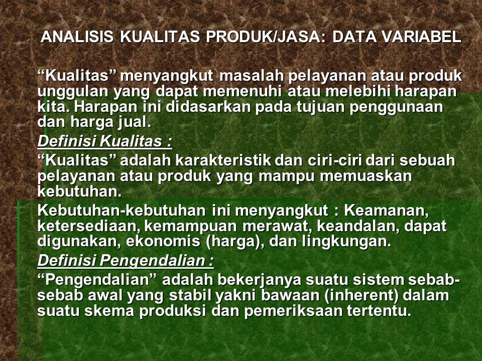 """ANALISIS KUALITAS PRODUK/JASA: DATA VARIABEL """"Kualitas"""" menyangkut masalah pelayanan atau produk unggulan yang dapat memenuhi atau melebihi harapan ki"""
