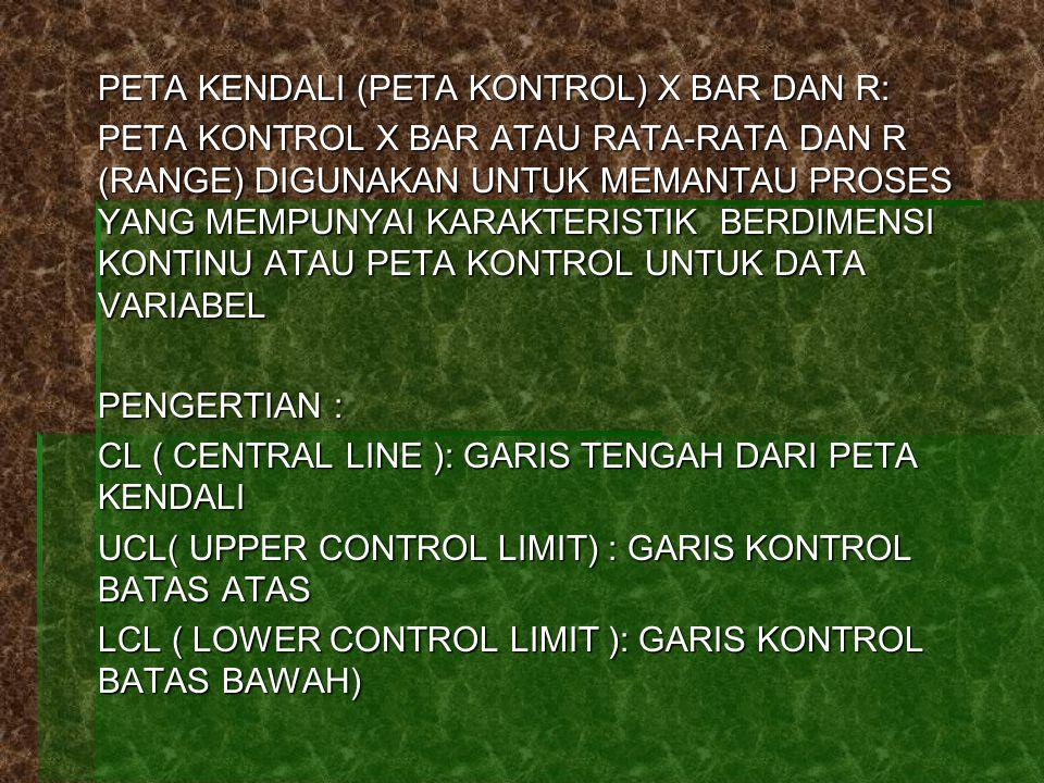PETA KENDALI (PETA KONTROL) X BAR DAN R: PETA KONTROL X BAR ATAU RATA-RATA DAN R (RANGE) DIGUNAKAN UNTUK MEMANTAU PROSES YANG MEMPUNYAI KARAKTERISTIK