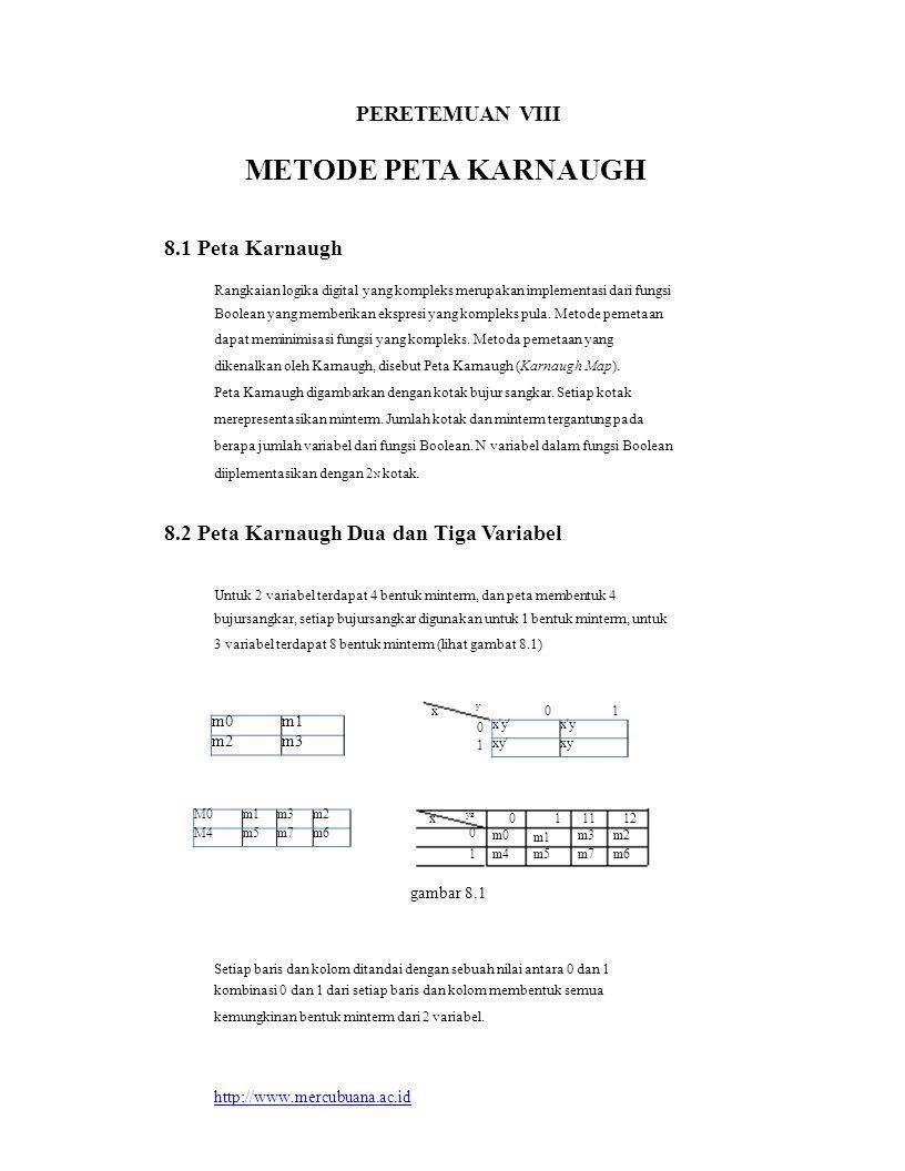 M0m1m3m2 M4m5m7m6 m0m1 m2m3 x'y'x'y xy'xy PERETEMUAN VIII METODE PETA KARNAUGH 8.1 Peta Karnaugh Rangkaian logika digital yang kompleks merupakan impl