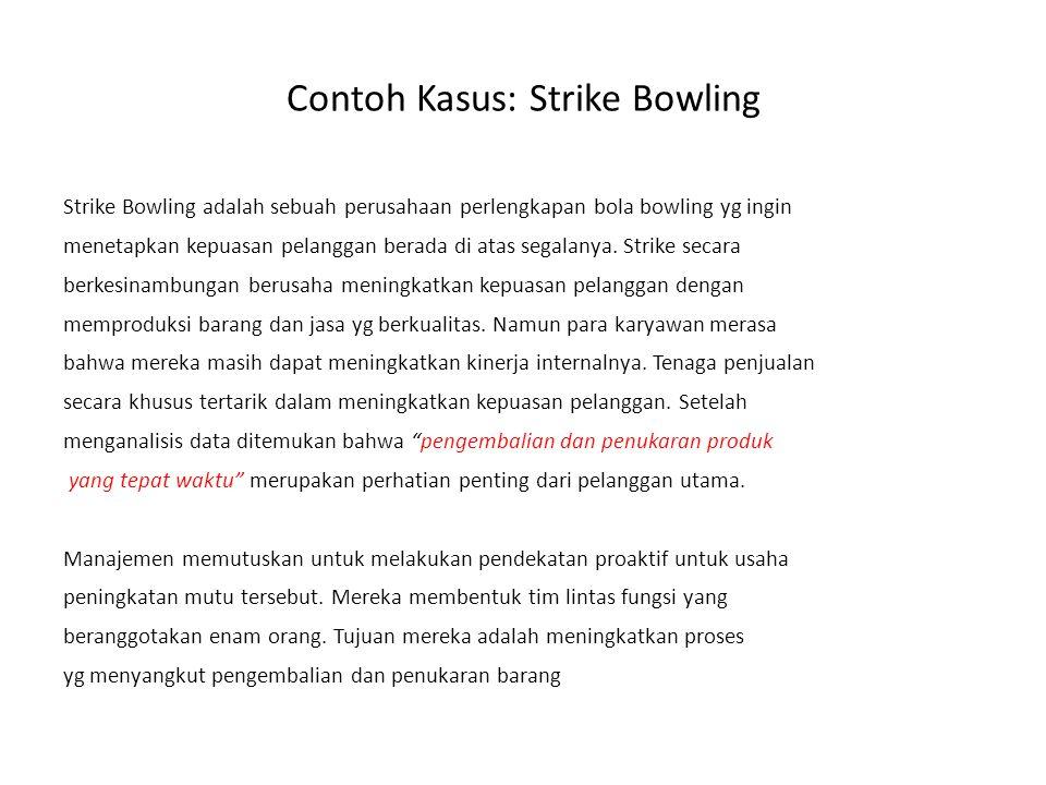 Contoh Kasus: Strike Bowling Strike Bowling adalah sebuah perusahaan perlengkapan bola bowling yg ingin menetapkan kepuasan pelanggan berada di atas s