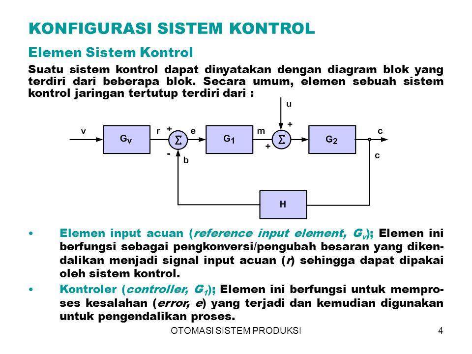 OTOMASI SISTEM PRODUKSI4 Elemen Sistem Kontrol Suatu sistem kontrol dapat dinyatakan dengan diagram blok yang terdiri dari beberapa blok. Secara umum,