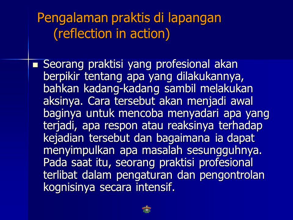 Latar Belakang: Pengalaman praktis di lapangan (reflection in action) Latar Belakang: Pengalaman praktis di lapangan (reflection in action) Prinsip refleksi dari pengalaman- pengalaman praktisi profesional (dikenal dengan nama reflective practitioners) dalam pemecahan masalah-masalah yang pernah dihadapi untuk memecahkan masalah baru disebut prinsip reflection in action (Schon, 1982).