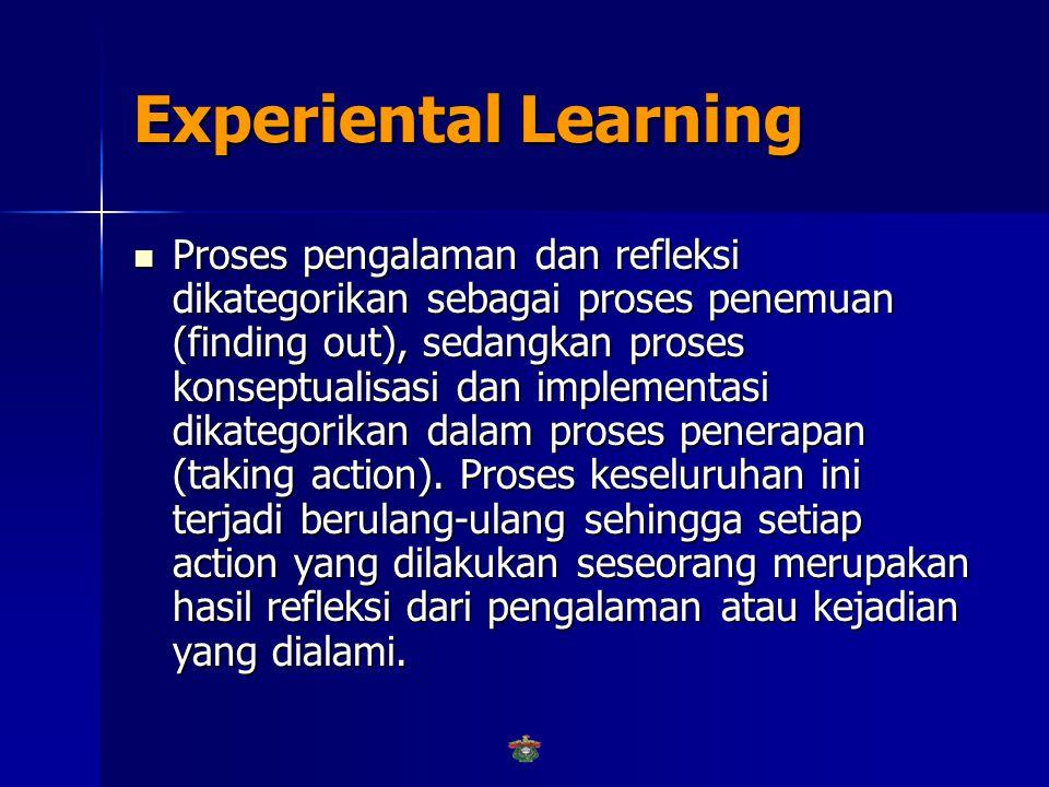 Experiental Learning  Berdasarkan teori ini proses belajar dimulai dari pengalaman konkret yang dialami seseorang.