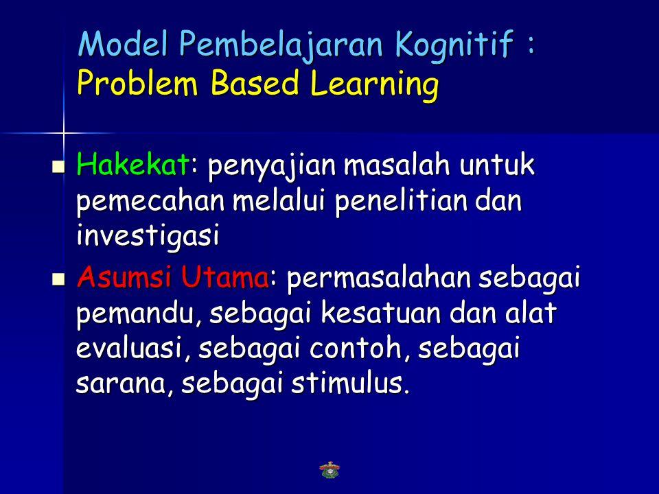 Model Pembelajaran Kognitif : Problem Based Learning  Hakekat  Asumsi Utama  Perbedaan dengan Pembelajaran Tradisional  Struktur Problem Based Learning  Proses Pembelajaran menggunakan Problem Based Learning :The Problem Solving Wheel