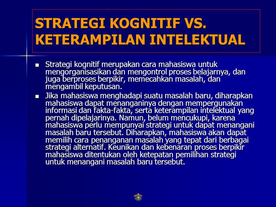 STRATEGI KOGNITIF VS. KETERAMPILAN INTELEKTUAL Sedangkan strategi kognitif, merupakan kemampuan mahasiswa untuk mengontrol interaksinya dengan lingkun