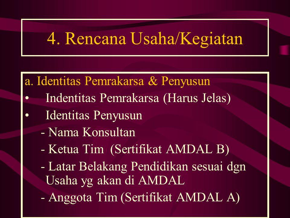 4. Rencana Usaha/Kegiatan a. Identitas Pemrakarsa & Penyusun •Indentitas Pemrakarsa (Harus Jelas) •Identitas Penyusun - Nama Konsultan - Ketua Tim (Se